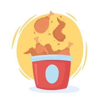 Fast food, pieczony kurczak w pudełku ikona designu