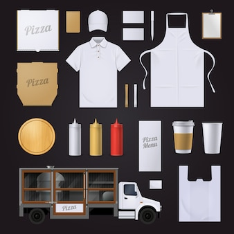 Fast food pizza restauracja wizualne tożsamości korporacyjnej pusty szablon elementów kolekcji