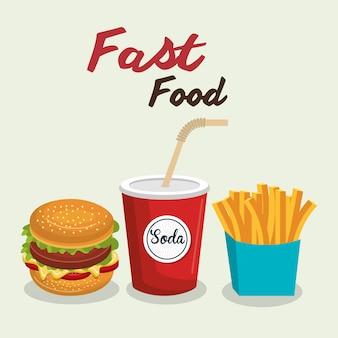 Fast food projekt burger na białym tle