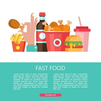 Fast food. pyszne jedzenie. ilustracja wektorowa w stylu płaski. zestaw popularnych dań typu fast food. hamburger, napój, koktajl mleczny, frytki, kubeł smażonych udka z kurczaka.