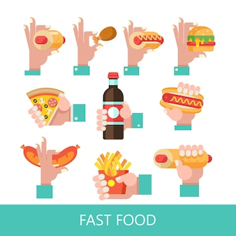 Fast food. pyszne jedzenie. ilustracja wektorowa w stylu płaski. zestaw popularnych dań typu fast food. hot dog, hamburger, tacos, kiełbasa, pizza, smażony kurczak. musztarda i ketchup. napój i koktajl mleczny.