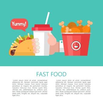 Fast food. pyszne jedzenie. ilustracja wektorowa w stylu płaski. zestaw popularnych dań typu fast food. tacos, koktajl mleczny, wiadro smażonych udka z kurczaka.