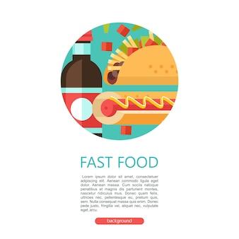 Fast food pyszne jedzenie ilustracja wektorowa w stylu płaski