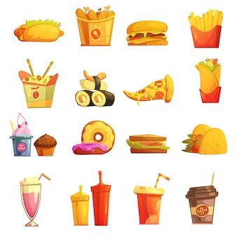 Fast food retro kreskówki ikony inkasowe z hot dog suszi hamburgerem i pączkami