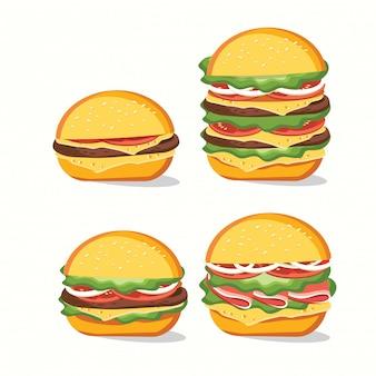 Fast food, smaczny zestaw fast food na białym tle