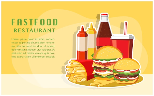 Fast food, smaczny zestaw fast food wektor na białym tle