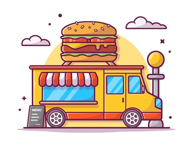 Fast food truck. van retro rocznika sklep z dużym smakowitym hamburgerem, ilustracyjny biel odizolowywający