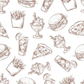 Fast food wektor bezszwowe tło, wzór menu do projektowania opakowań. burger śniadanie i dri