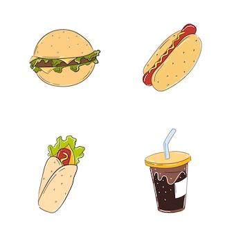 Fast food z hamburgerem, hot dogiem i frytkami na białym tle w ręcznie rysowane stylu