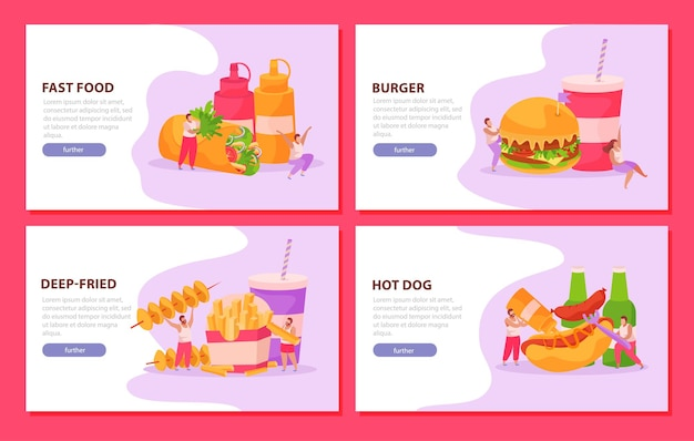 Fast food zestaw czterech poziomych banerów