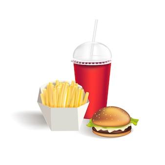 Fast food zestaw realistycznych hamburgerów klasyczny burger ziemniaki frytki pusty kartonowy kubek na