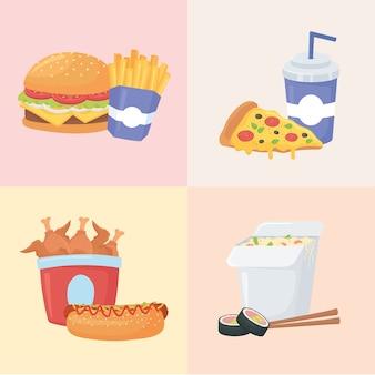 Fast food, zestaw z burgerami, frytkami, pizzą, sushi, kurczakiem