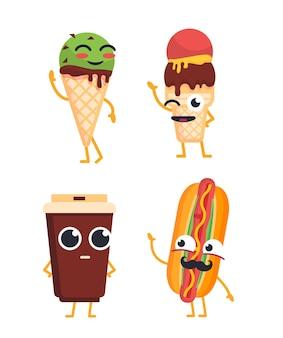 Fast food znaków wektor zestaw ilustracji maskotek