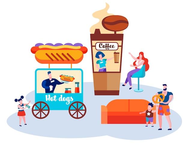 Fast foody, dorośli i dzieci stoją na stoiskach