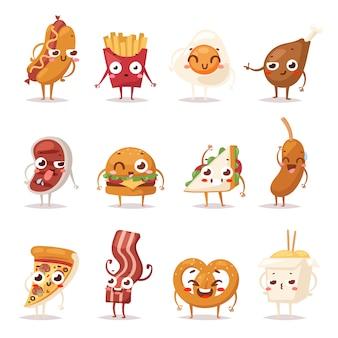 Fast foody kolorowe emotikony twarz zestaw ikon płaska konstrukcja. emotikon fast food śmieszne elementy postaci. kolekcja różnych emocji postacie fast food uśmiech zabawa niezdrowy bekon stek.