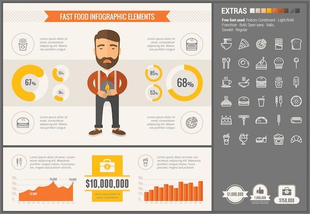 Fast foody płaska konstrukcja infographic szablon i ikony zestaw