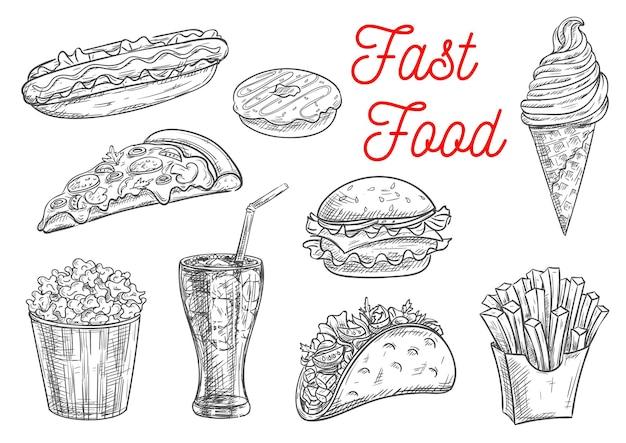 Fast foody, przekąski i desery szkic