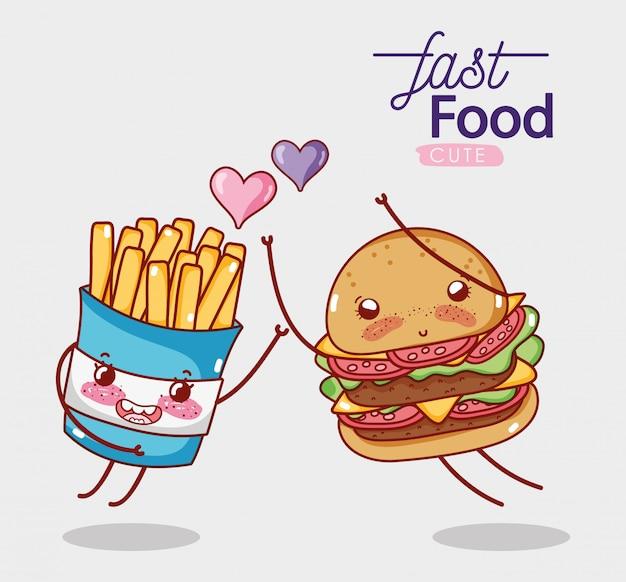 Fast foody śliczny burger i frytki uwielbiają kreskówki serca