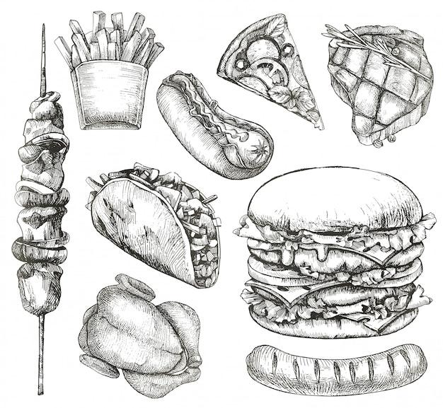 Fast foody, szkice, rysunek odręczny, wektor zestaw