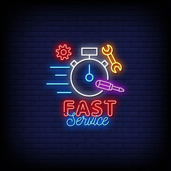 Fast service logo neon signs style text