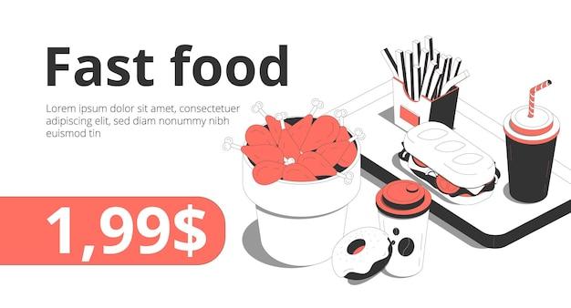 Fastfood cafe baner dostawy zamówień online z podudzia francuskie smażone ziemniaki napój bezalkoholowy