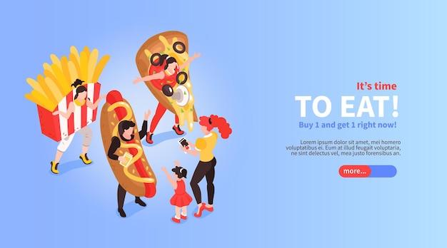 Fastfood cafe restaurant bary promocja zamówienia online ilustracja izometryczna