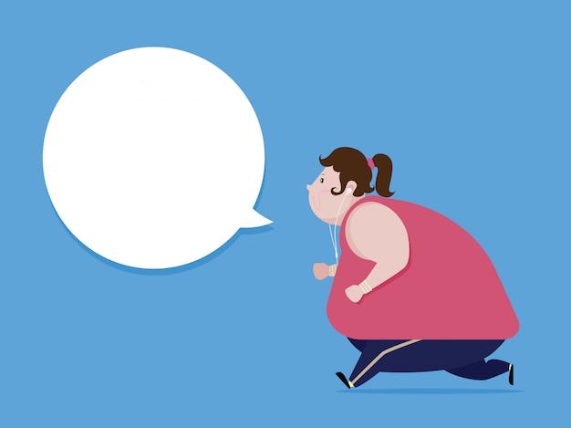 Fat kobieta jogging aby schudnąć i zdrowe ciało