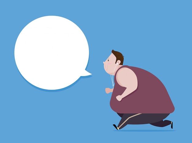 Fat man jogging aby schudnąć i zdrowe ciało