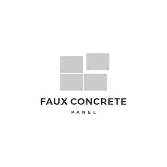 Faux betonu odsłonięty panel ścienny logo wektor ikona ilustracja