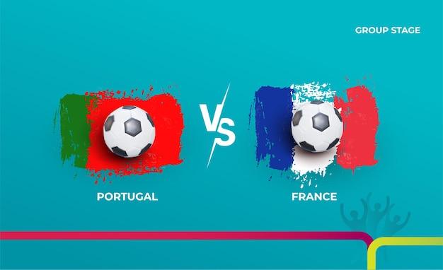 Faza grupowa portugalia i francja. ilustracja wektorowa meczów piłki nożnej 2020