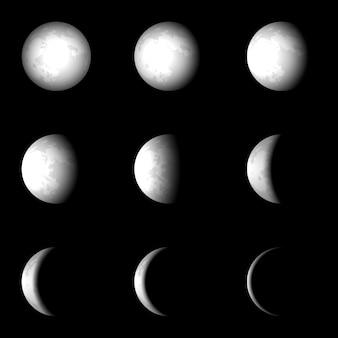 Faza księżyca wektor zestaw ilustracji