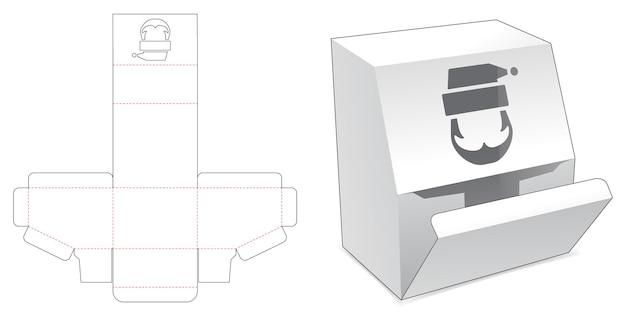 Fazowane pudełko kartonowe z szablonem wykrojnika świętego mikołaja