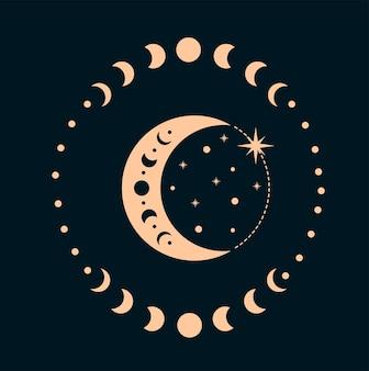 Fazy księżyca elementy projektu boho czeska ilustracja faz księżyca