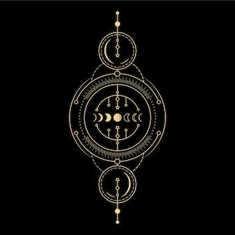 Fazy księżyca kryształ gwiazdy fala słoneczna i święta geometria dla duchowego przewodnictwa czytnik kart tarota;
