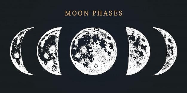 Fazy księżyca. ręcznie rysowane ilustracja cyklu od nowiu do pełni księżyca.