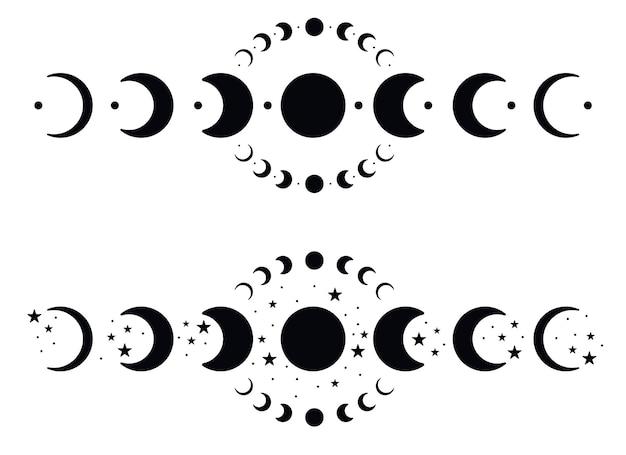 Fazy księżyca sylwetki z gwiazdami. ikony czarny półksiężyc. nocna astronomia kosmiczna. zaćmienie księżyca. ilustracja wektorowa na białym tle.