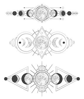 Fazy księżyców na mistycznym niebie