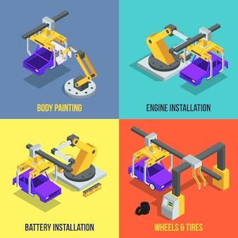 Fazy produkcji samochodów. zautomatyzowana linia maszyn. przemysłowe ilustracje wektorowe izometryczne