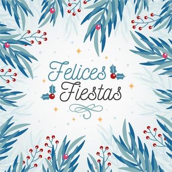 Felices fiestas z tłem gałęzi drzew