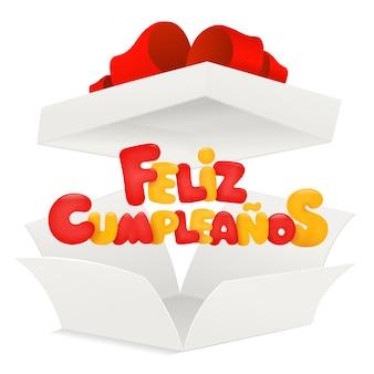 Feliz cumpleanos - happy birthday in spanish greeting card with open box.