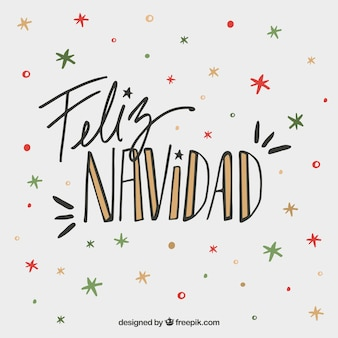 Feliz navidad napis tło na kolorowe gwiazdki