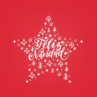 Feliz navidad, odręczne zdanie przetłumaczone z hiszpańskiego wesołych świąt. ozdobny gwiazda ilustracja wektorowa na czerwonym tle.