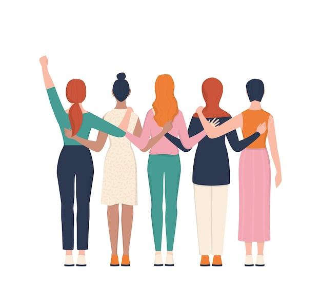 Femenizm i koncepcja siły dziewczyny. idea równości płci i ruchu kobiet. grupa kobiet przytulanie się razem. kobieca postać wspiera się nawzajem kartą lub sztandarem.