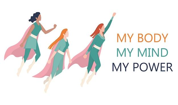 Femenizm i koncepcja siły dziewczyny. zespół superwomen. idea równości płci i ruchu kobiet. baner strony organizacji wsparcia kobiet.