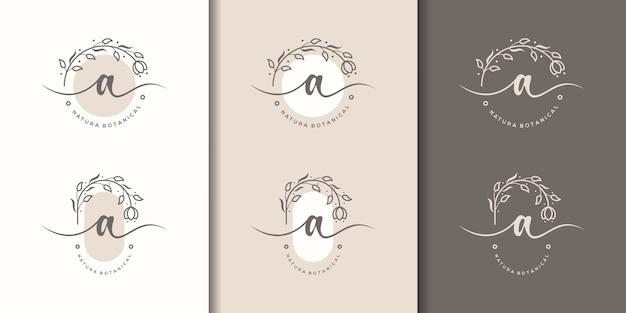 Feminime list z szablonem logo kwiatowy ramki