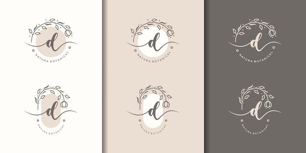 Feminime litera d z szablonem logo kwiatowy ramki