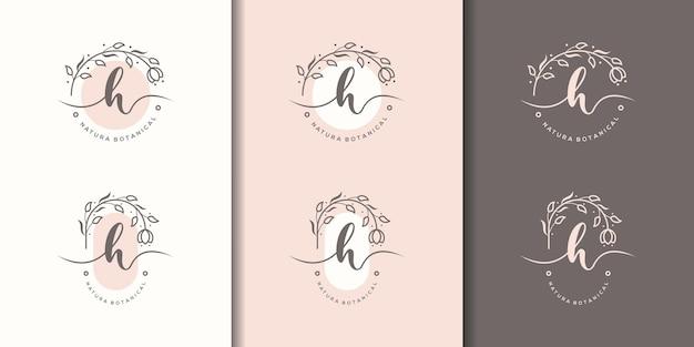 Feminime litera hz szablon logo kwiatowy ramki