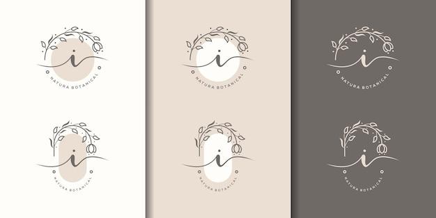 Feminime litera i z szablonem logo kwiatowy ramki