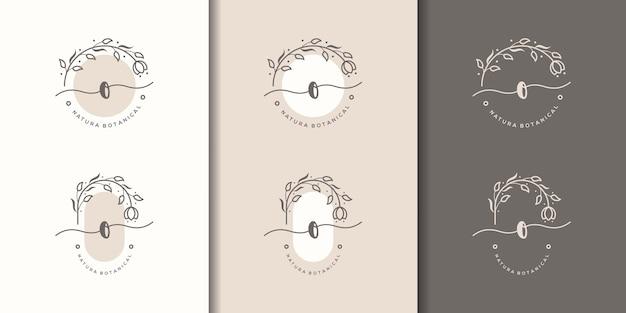 Feminime litera o szablon logo kwiatowy ramki