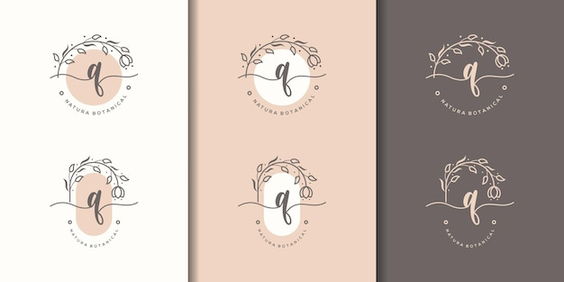 Feminime litera qz szablon logo kwiatowy ramki